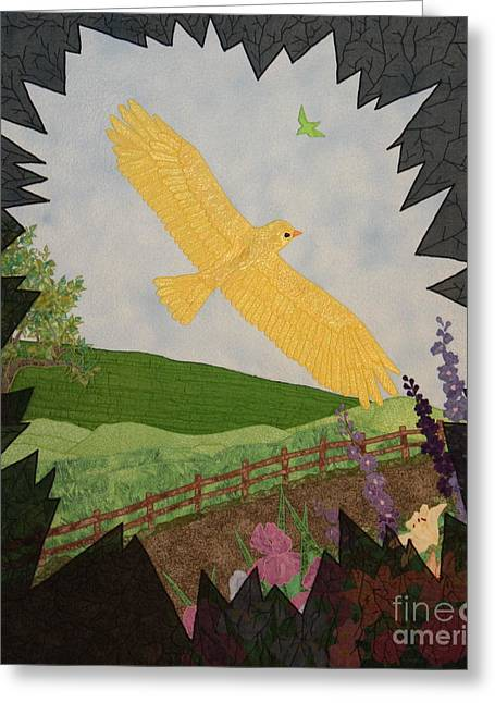 Path Tapestries - Textiles Greeting Cards - Courage is the Bird that Soars Greeting Card by Denise Hoag