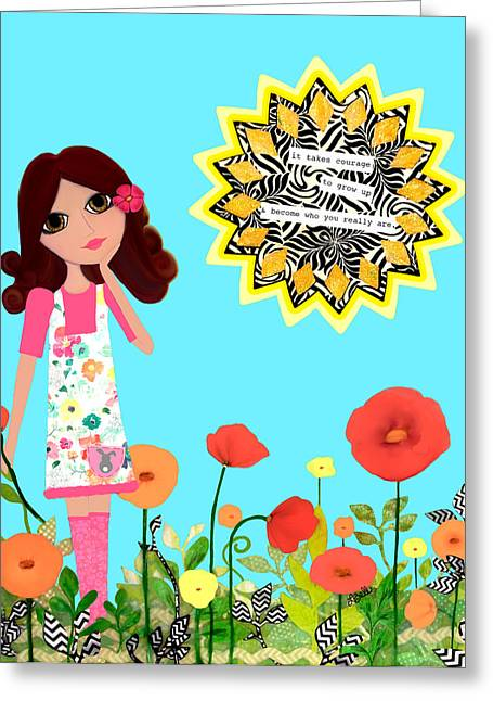 Courage Mixed Media Greeting Cards - Courage Greeting Card by Laura Bell