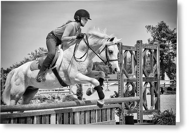 Showjumping Greeting Cards - Courage Greeting Card by Liz Rose Fisher