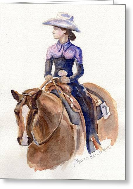 Quarter Horse Greeting Cards - Horse painting cowgirl Courage Greeting Card by Maria