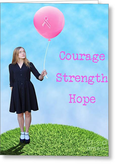 Awareness Greeting Cards - Courage.  Strength.  Hope. Greeting Card by Juli Scalzi