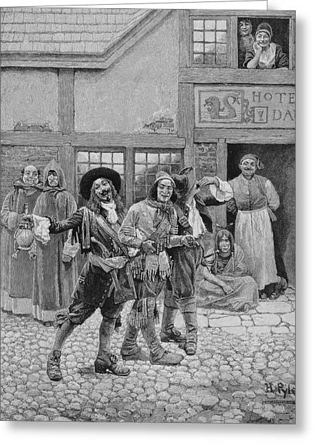 Settler Greeting Cards - Coureurs De Bois, Engraved By G.e. Johnson, Illustration From Canadian Voyageurs On The Saguenay Greeting Card by Howard Pyle