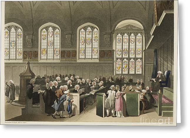 Rowlandson Greeting Cards - Court House Chancery Greeting Card by British Library