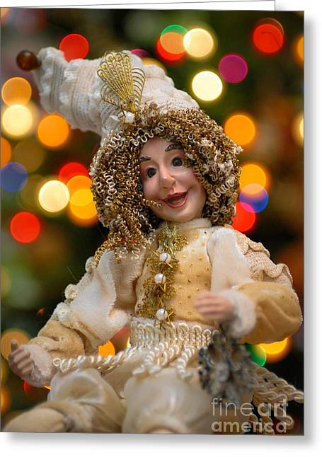 Hair Ornaments Greeting Cards - Court Jester with Christmas Lights Greeting Card by Amy Cicconi