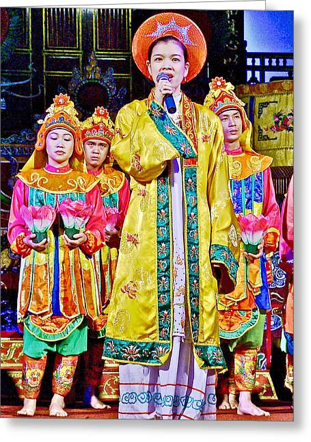 Announcer Greeting Cards - Court Music Show Announcer in Royal Music Theatre in Imperial Citadel in Hue-Vietnam Greeting Card by Ruth Hager