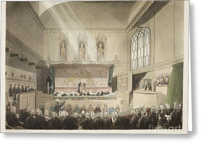 Rowlandson Greeting Cards - Court Of Kings Bench Greeting Card by British Library