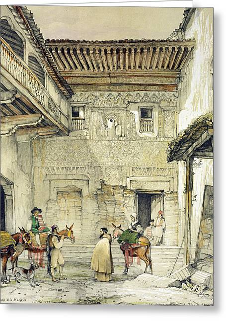 Courtyard Greeting Cards - Court Of The Mosque , From Sketches Greeting Card by John Frederick Lewis