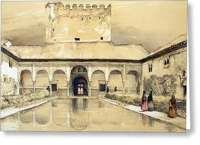 Myrtle Greeting Cards - Court Of The Myrtles And The Tower Greeting Card by John Frederick Lewis