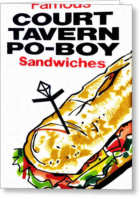 Court Digital Greeting Cards - Court Tavern Po-Boy Greeting Card by Bill Cannon