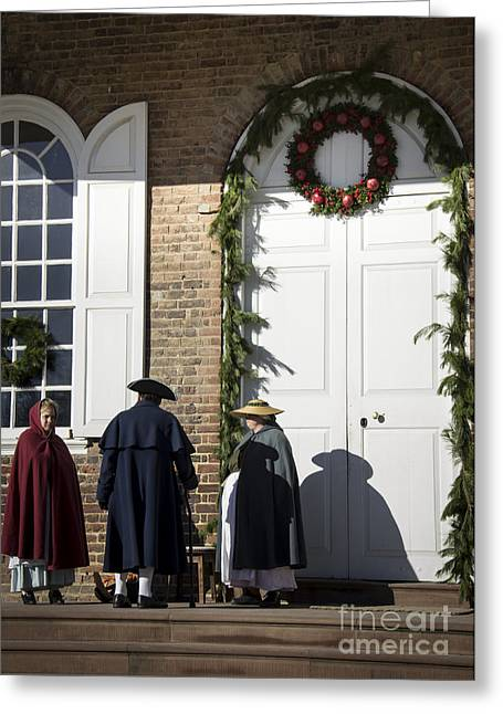 Re-enactor Greeting Cards - Courthouse Christmas Decorations Greeting Card by Teresa Mucha