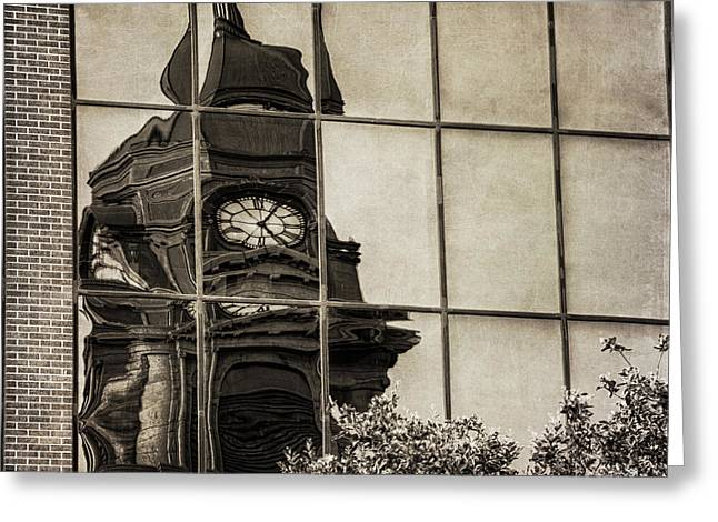 Main Street Greeting Cards - Courthouse Reflections Greeting Card by Joan Carroll