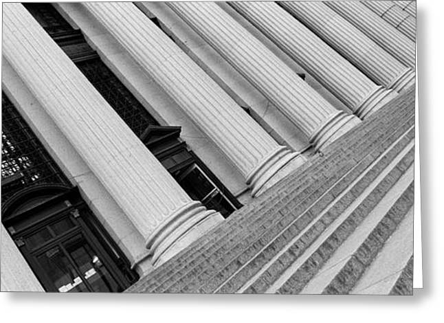 Distortion Photographs Greeting Cards - Courthouse Steps, Nyc, New York City Greeting Card by Panoramic Images