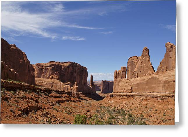 Slickrock Greeting Cards - Courthouse Towers in Arches National Park Greeting Card by Brian Kamprath