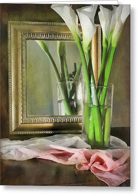 Silk Scarf Greeting Cards - Courting Calla Greeting Card by Diana Angstadt