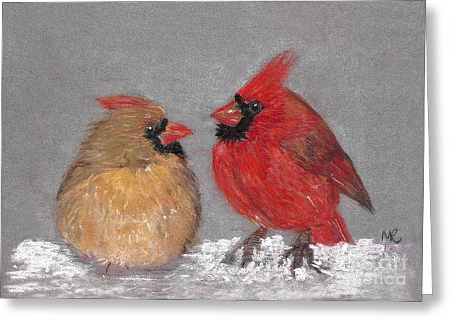 Michelle Pastels Greeting Cards - Courting Cardinals Greeting Card by Michelle Reeve