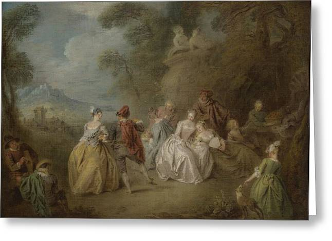 Courtly Scene In A Park, C.1730-35 Greeting Card by Jean-Baptiste Joseph Pater