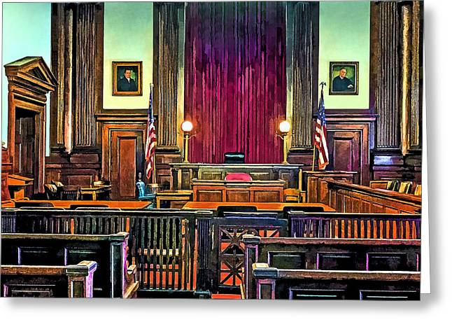 Defendant Greeting Cards - Courtroom Greeting Card by Susan Savad