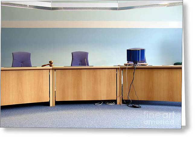 Legal Proceedings Greeting Cards - Courts room Greeting Card by IB Photo