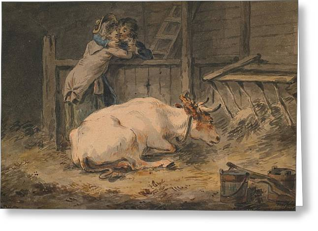 Cowshed Greeting Cards - Courtship in a Cowshed Greeting Card by Julius Caesar Ibbetson