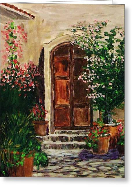 Atrium Paintings Greeting Cards - Courtyard 1 Greeting Card by Mike Caitham