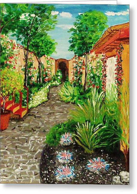 Atrium Paintings Greeting Cards - Courtyard 2 Greeting Card by Mike Caitham
