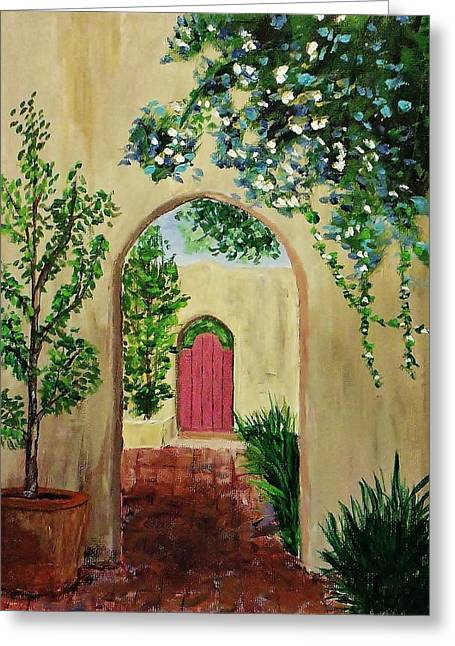 Atrium Paintings Greeting Cards - Courtyard 3 Greeting Card by Mike Caitham