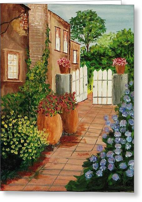 Atrium Paintings Greeting Cards - Courtyard 5 Greeting Card by Mike Caitham
