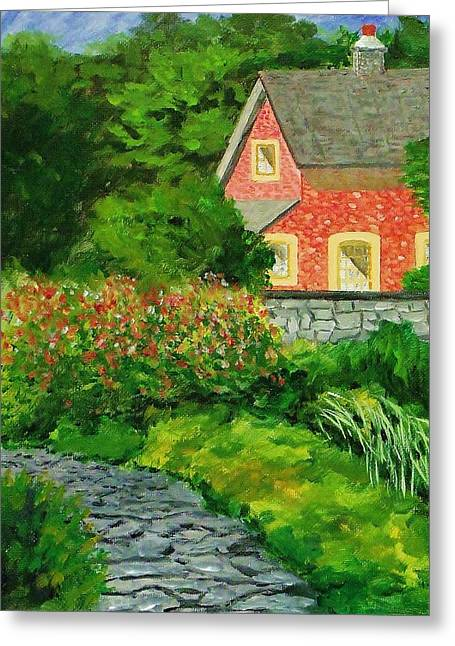 Atrium Paintings Greeting Cards - Courtyard 6 Greeting Card by Mike Caitham