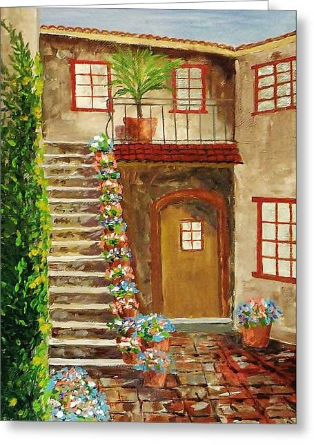 Atrium Paintings Greeting Cards - Courtyard 7 Greeting Card by Mike Caitham