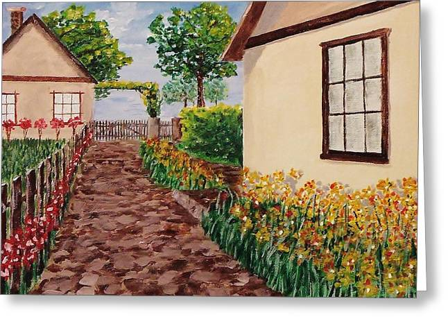 Atrium Paintings Greeting Cards - Courtyard 8 Greeting Card by Mike Caitham