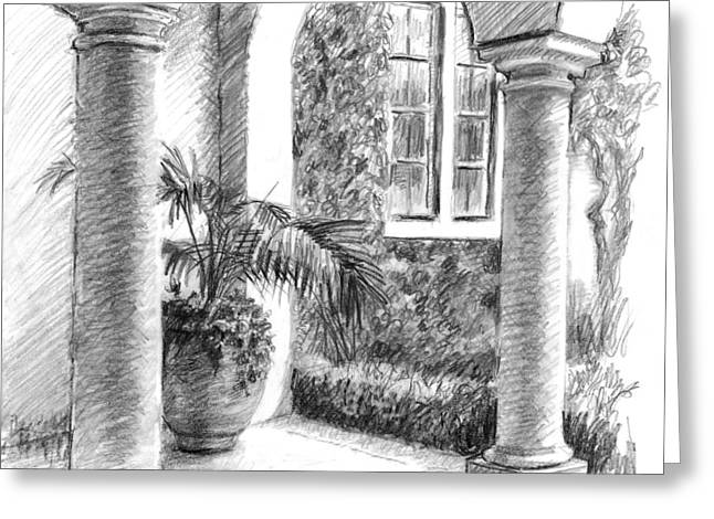 Mediterranean Landscape Drawings Greeting Cards - Courtyard Columns Greeting Card by Sarah Parks