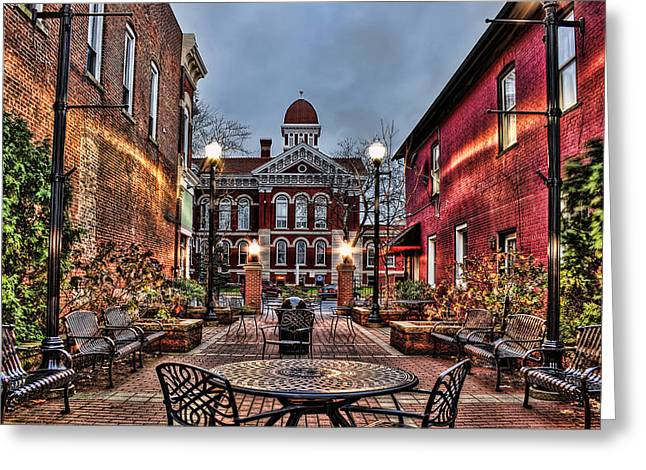 Indiana Autumn Greeting Cards - Courtyard Courthouse Greeting Card by Scott Wood