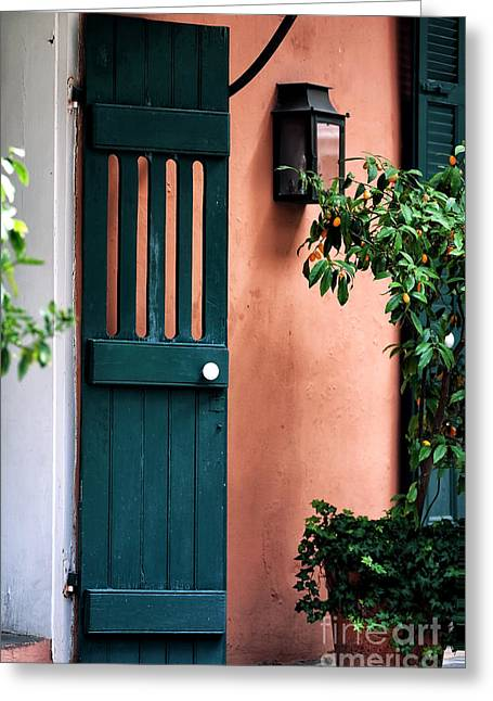 Photo Art Gallery Greeting Cards - Courtyard Door Greeting Card by John Rizzuto