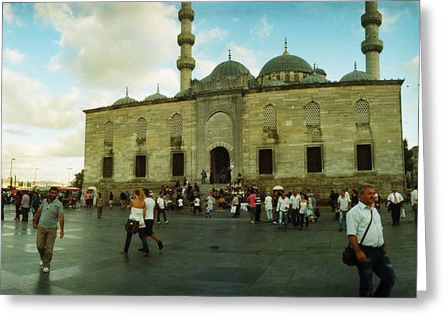 Istanbul Greeting Cards - Courtyard In Front Of Yeni Cami Greeting Card by Panoramic Images