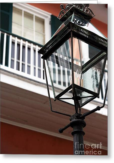 Photo Art Gallery Greeting Cards - Courtyard Lamp Greeting Card by John Rizzuto