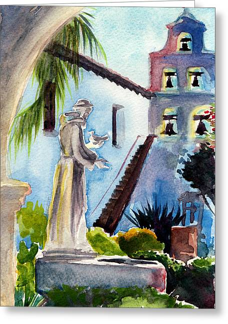Garden Statuary Greeting Cards - Courtyard Mission San Diego Greeting Card by Alice Picado