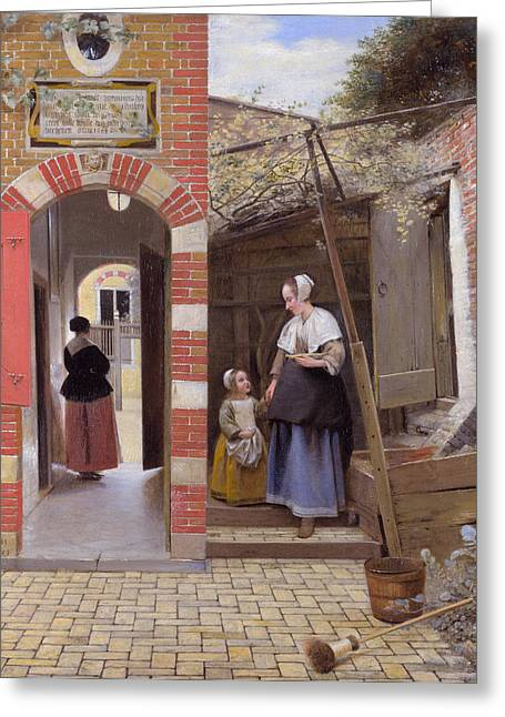 Hooch Greeting Cards - Courtyard of a House in Delft Greeting Card by Pieter de Hooch