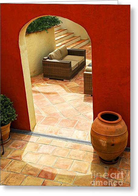 Mediterranean Style Greeting Cards - Courtyard of a villa Greeting Card by Elena Elisseeva