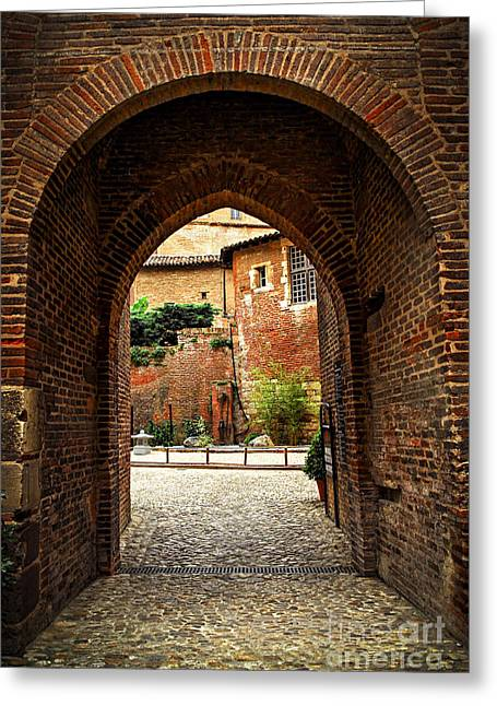 Red Buildings Greeting Cards - Courtyard of Cathedral of Ste-Cecile in Albi France Greeting Card by Elena Elisseeva