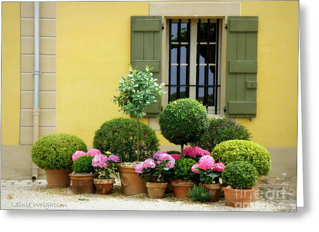 Lainie Wrightson Greeting Cards - Courtyard of Chateau Malherbe Greeting Card by Lainie Wrightson