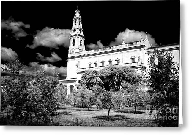Rosary Greeting Cards - Courtyard of Fatima Greeting Card by John Rizzuto