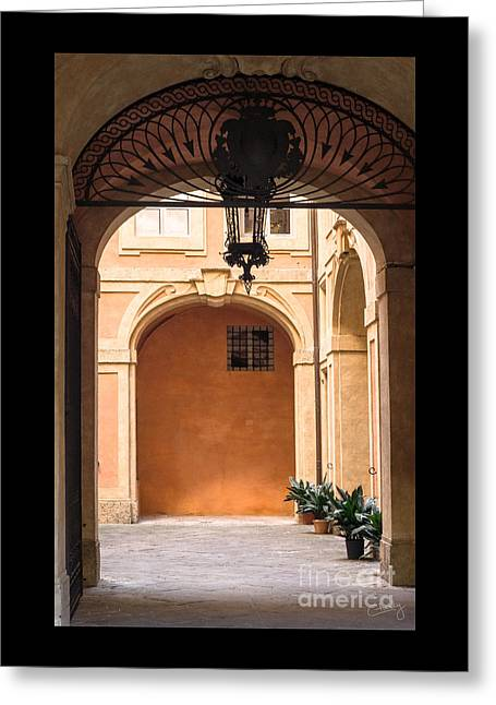 Charly Greeting Cards - Courtyard of Siena Greeting Card by Prints of Italy