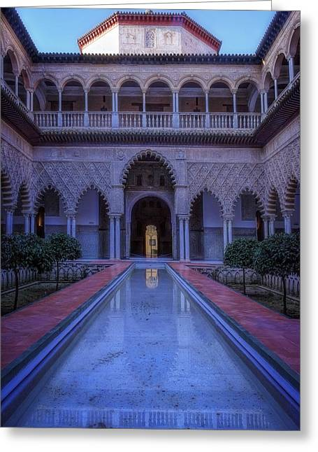 Reflecting Water Greeting Cards - Courtyard of the Maidens II Greeting Card by Joan Carroll