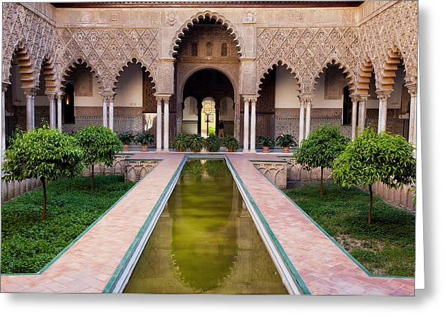 Maiden Greeting Cards - Courtyard of the Maidens in Alcazar of Seville Greeting Card by Artur Bogacki