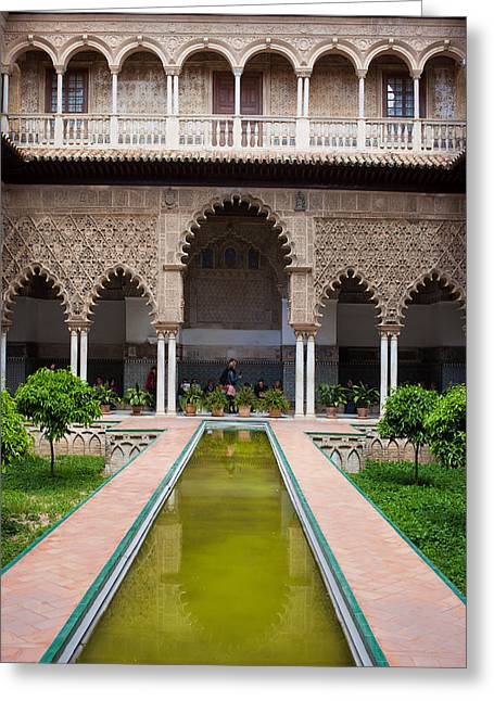 Maiden Greeting Cards - Courtyard of the Maidens in Alcazar Palace of Seville Greeting Card by Artur Bogacki