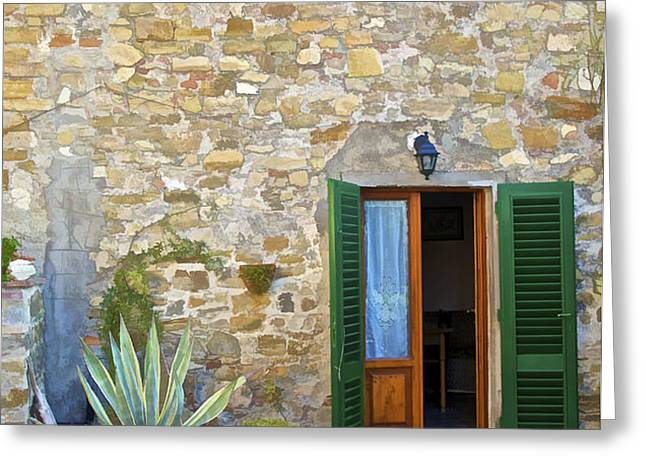 Courtyard of Tuscany Greeting Card by David Letts
