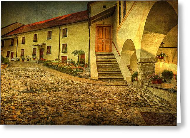 Old Home Place Digital Greeting Cards - Courtyard Greeting Card by Vjekoslav Antic