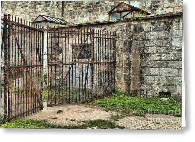 Philadelphia History Greeting Cards - Courtyard At The Jail Greeting Card by Adam Jewell