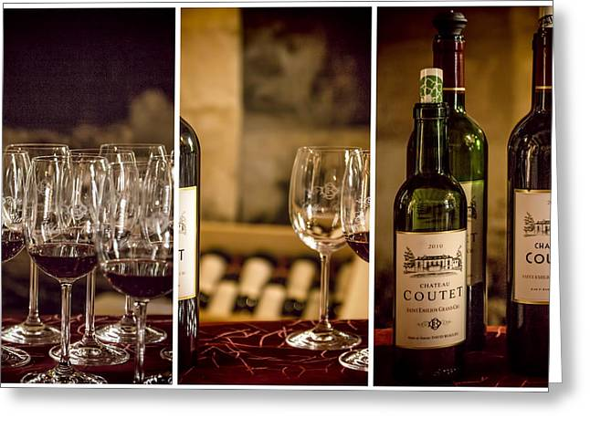 Wine Reflection Art Photographs Greeting Cards - Coutet Wine Tour Triptych Greeting Card by Nomad Art And  Design