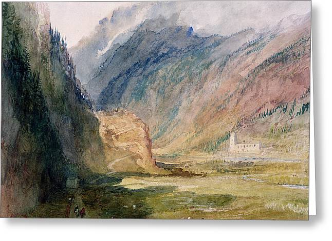 Path Drawings Greeting Cards - Couvent Du Bonhomme Chamonix Greeting Card by Joseph Mallord William Turner